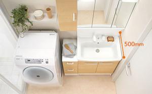 スッキリと設置できるから洗面室も広々