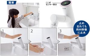 手をかざすだけの操作で、吐止水ができるタッチレス水栓