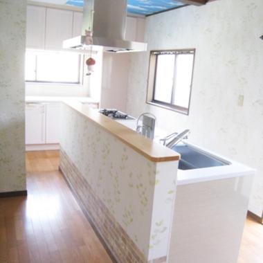 | キッチンリフォーム後 キッチン全体図 壁