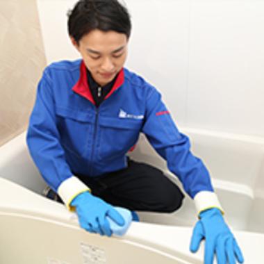 浴室 クリーニング 作業中