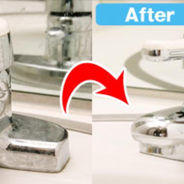 洗面台 蛇口洗浄前洗浄後比較写真