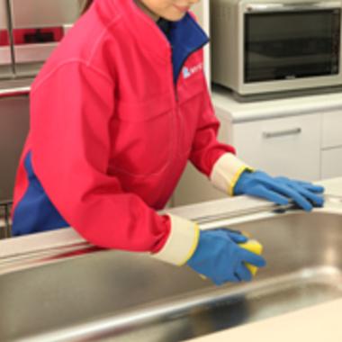 キッチン シンク スポンジ洗浄