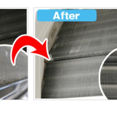| エアコン フィルター清掃前清掃後比較写真 見切れてる エコ