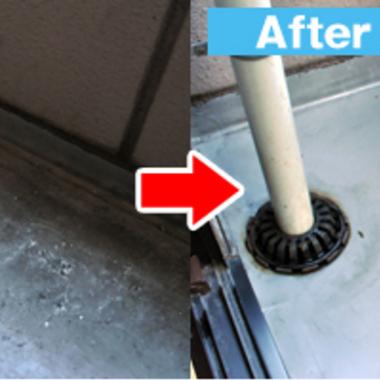外回り高圧洗浄前と後 排水溝