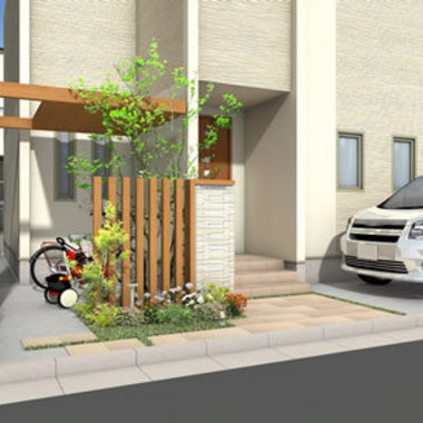 施工後 玄関横 自転車置き場 絵