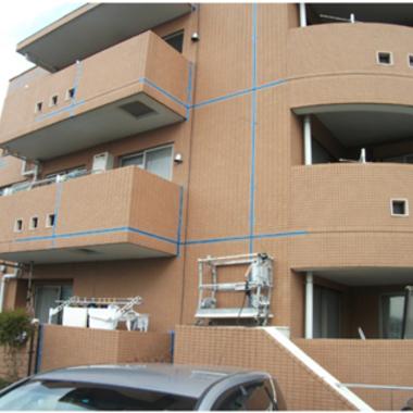 タイル外壁の補修 強化塗装途中 1