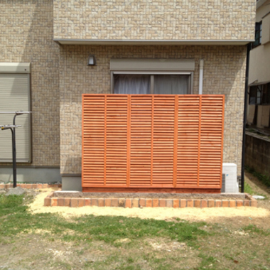 施工後の目隠し木製フェンス