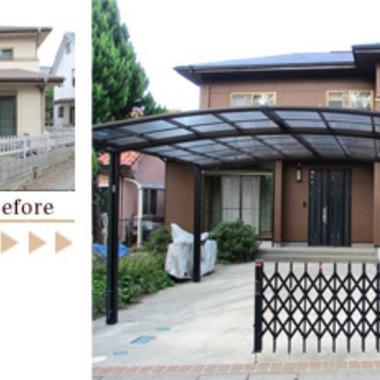 外壁塗装 フッ素樹脂を中心とした塗り替え工事 前と後