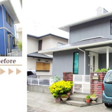屋根・外壁塗装工事 無機質塗料仕上げ 前と後