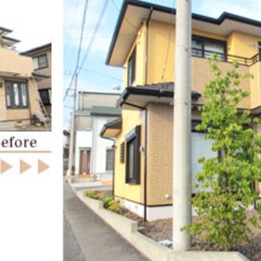 外壁塗装無機質塗料 付帯部は フツ素樹脂の超寿命型のコラボ塗装工事 前と後