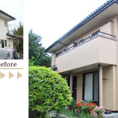 外壁塗装 スーパーペイント工法と 無機質塗料でのコラボ 前と後