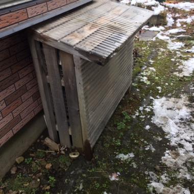 庭の冬支度後 囲い取付