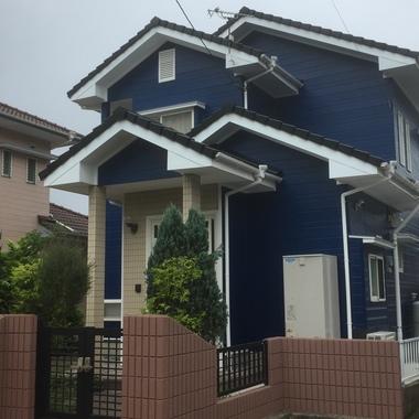 屋根外壁塗装 後 ブルー