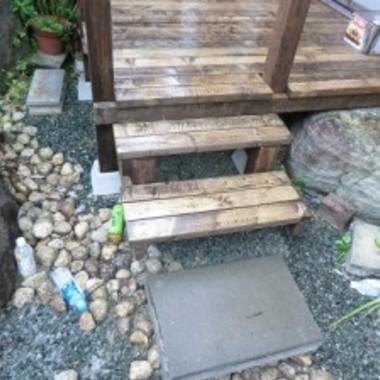 ウッドデッキ設置後 ウッドデッキ階段