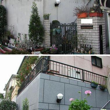 外壁塗装前後の比較 門扉周辺