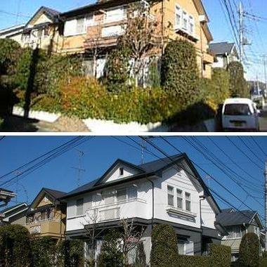 外装塗装前後の比較 住宅外観