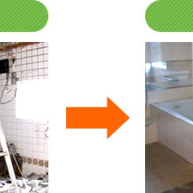 浴室リフォームの途切れた説明写真