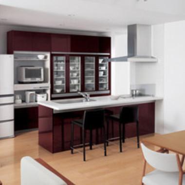 施工後の対面式キッチン