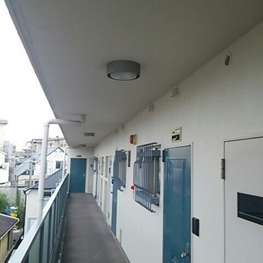 修繕後の集合住宅廊下 ドアが青の階