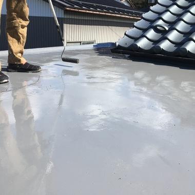 RF防水工事中の屋上