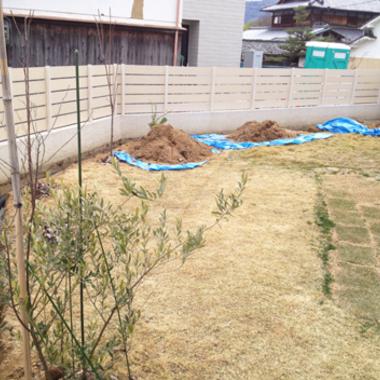 庭の排水設備工事前
