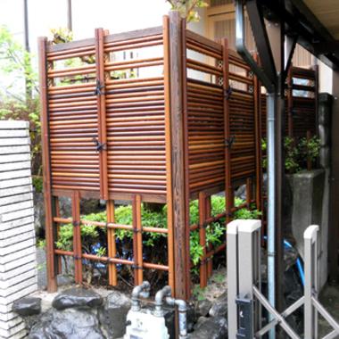 庭のリフォーム 完了 人口竹垣