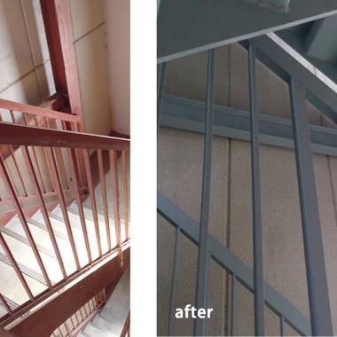 | アパート階段錆止め 前後