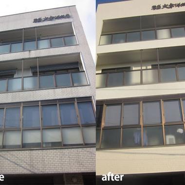 ビルの外壁塗装前と塗装後