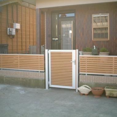 玄関 ブロック フェンス 門扉の設置後1