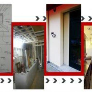 店舗リフォ-ムの工事風景とリフォ-ム後