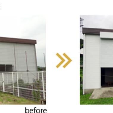 | ポンプ小屋 塗装前後