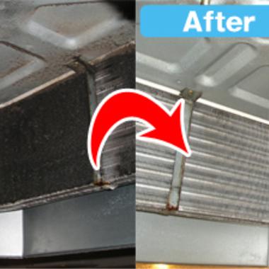 | エアコン家庭用天井埋込タイプクリーニング前後