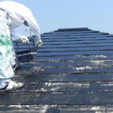 H様邸屋根塗装中