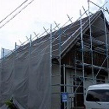 屋根外壁塗装 施工中