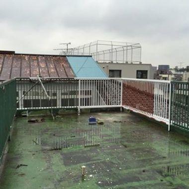 屋上防水ウレタン 手摺塗装工事 前 全体
