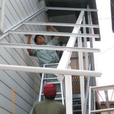 階段取り付け途中