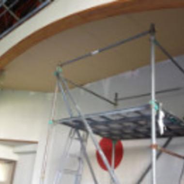 天井補修工事途中 作業用足場