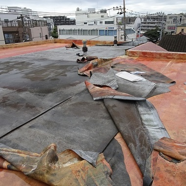 屋上防水工事前 防水加工作業