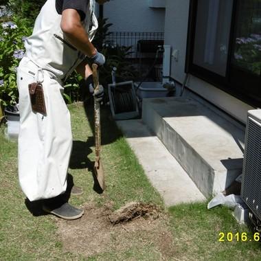 横浜市栄区 住宅改修 庭階段 作業中
