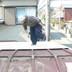 トタン屋根からガルバリウム鋼板に葺き替え途中