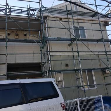 アパートの外壁塗装工事4棟の施工前写真(1枚目)