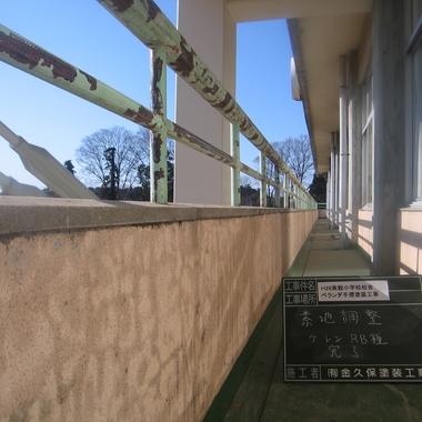 屋根・手摺塗装の施工前写真(1枚目)