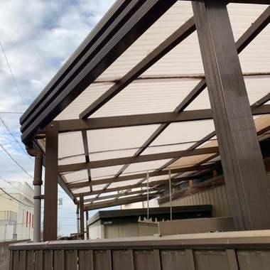 名古屋市緑区 テラス屋根の波板 リフォームの施工前写真(1枚目)